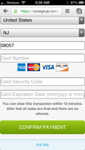 Final Step - Credit Card Info