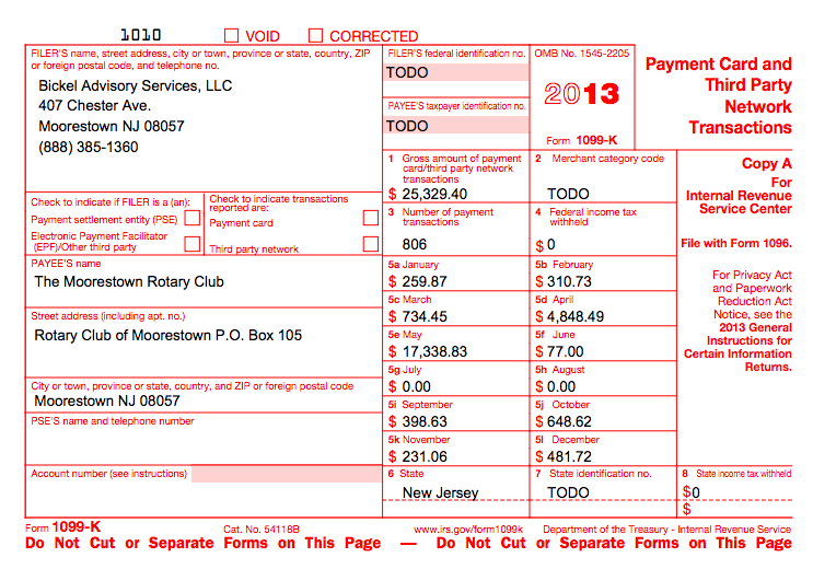 1090k  Misc Form Example on for tax year, recipient instructions,