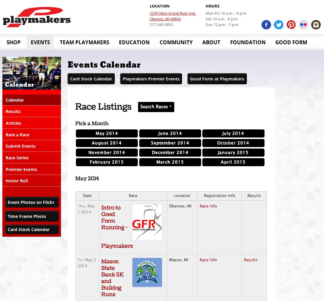 Racing Calendar May : May runsignup