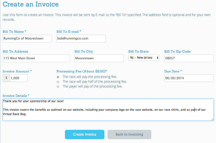 Invoice System RunSignUp - How to create an invoice for payment
