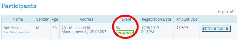 Check in Quick Event Change