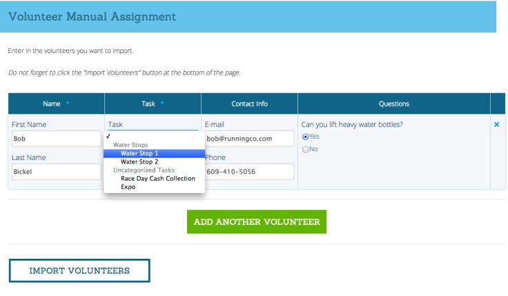 Volunteer Import