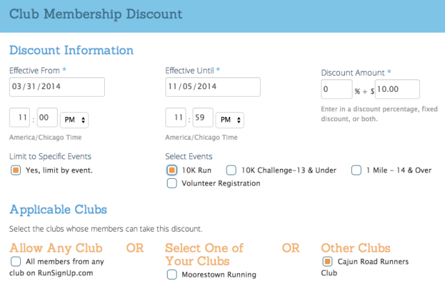 Running Club Discount for Race Events