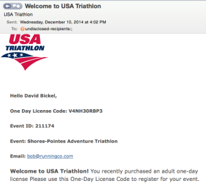 USAT Confirmation Email