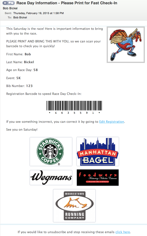 Race Day Check In EMail