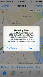 RaceJoy Progress Alert