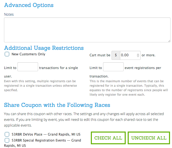 Coupon Code Advanced Options
