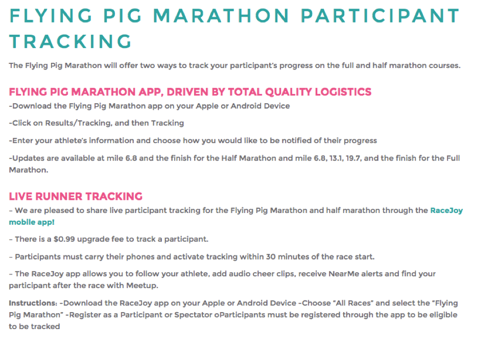 Flying Pig Offers Two Ways to Track Runners – Bib Tag Alerts and