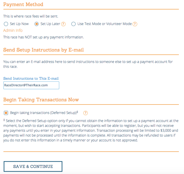 Timer Setup for Payment Accounts