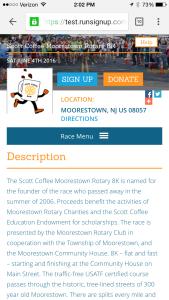 Mobile Race Website