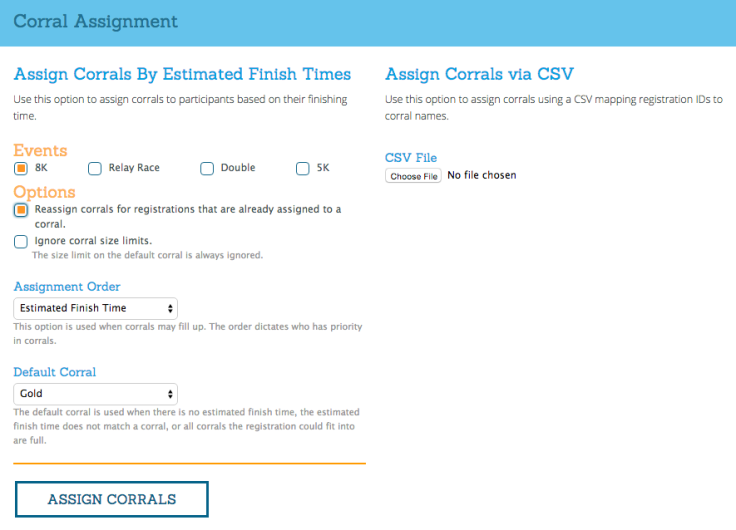 Corral Assignment Tool