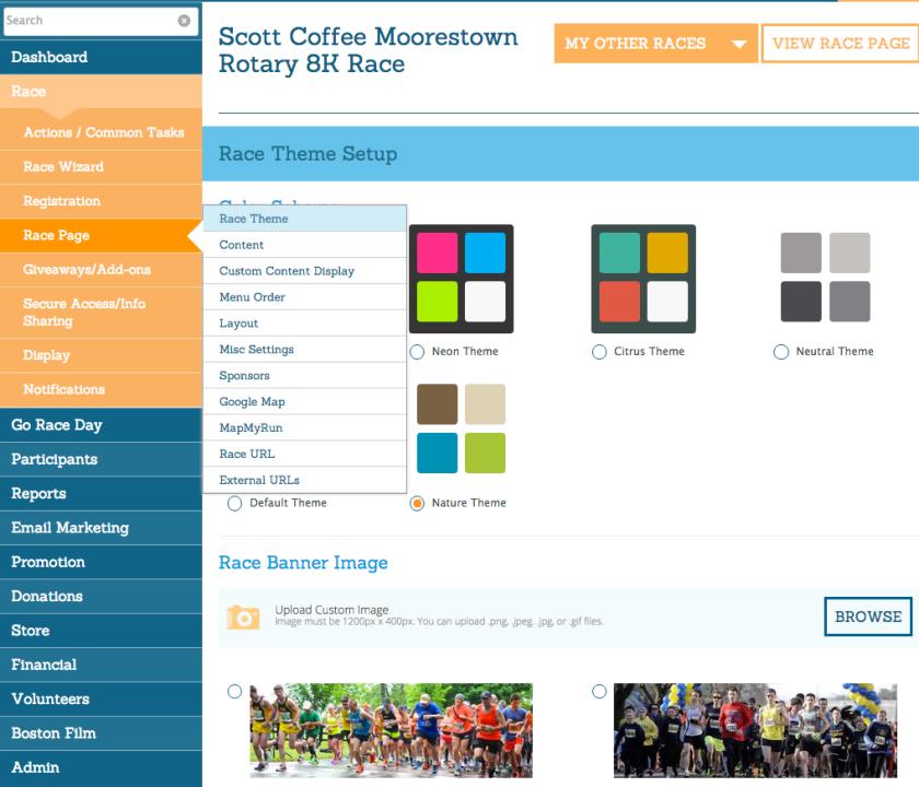 Race Website Theme Setup