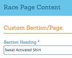 Race Website Custom Page