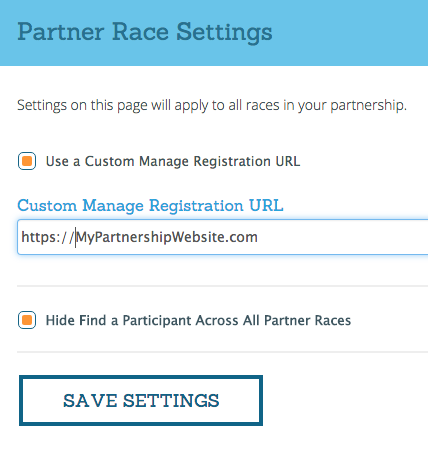 Partner Race Settings