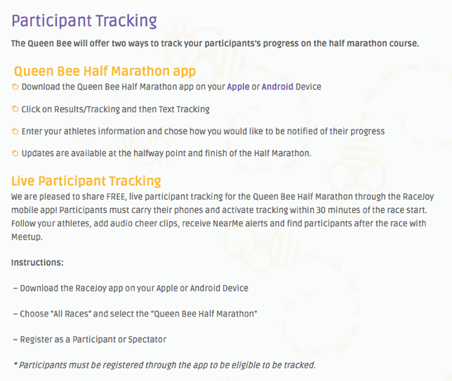 Queen Bee Half Marathon Offers Two Forms of Runner Tracking – RunSignup