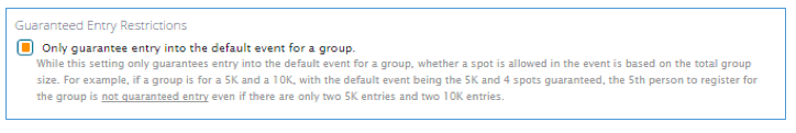 Team Guaranteed Entry Restrictions