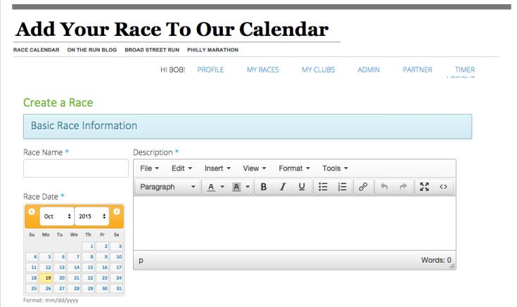Post to Race Calendar