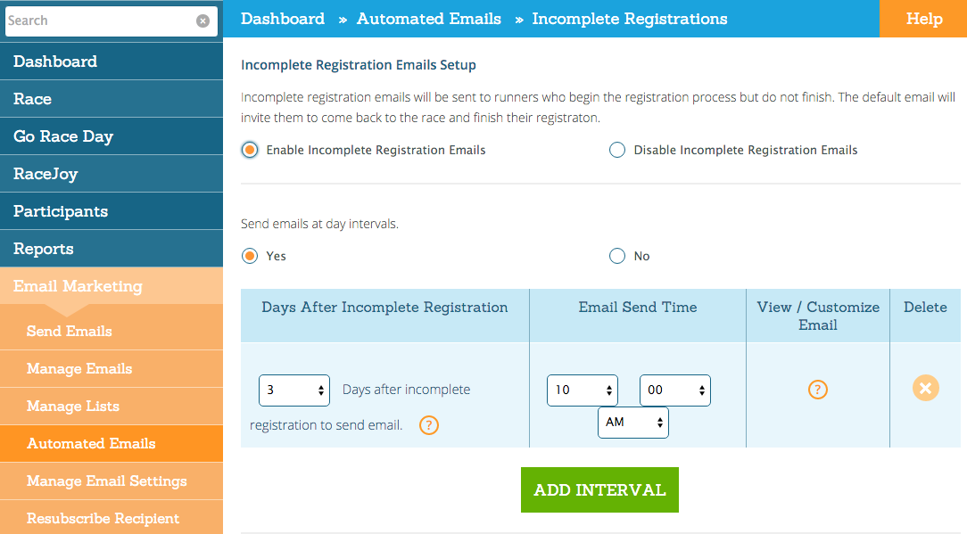 Automated Emails Runsignup