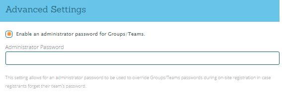 Team Admin Password