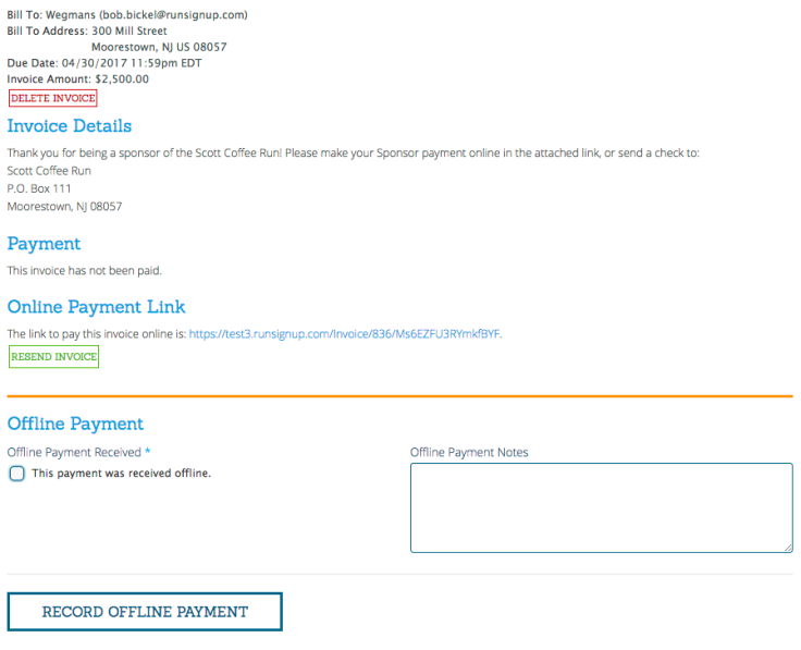 Tracking And Invoicing Sponsors RunSignUp - Invoice not paid