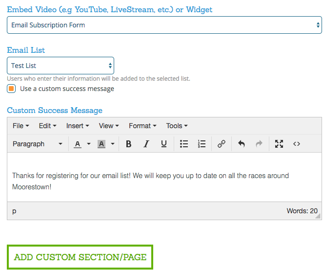 EMail Subscription Widget Message