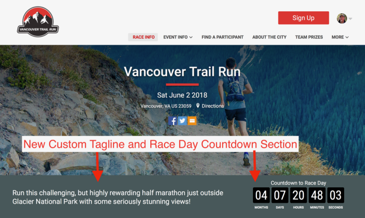 Updated Race Websites Facebook Feeds Countdown Clock And More
